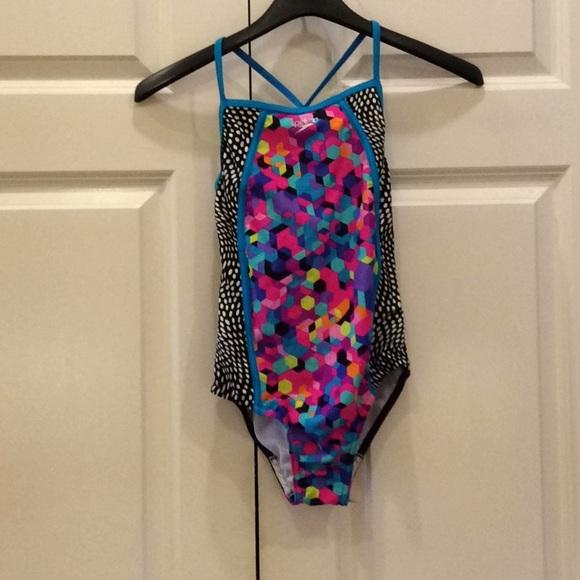 SPEEDO® Girls/' 12 Pink 1-Piece Rashguard Swimsuit NWT